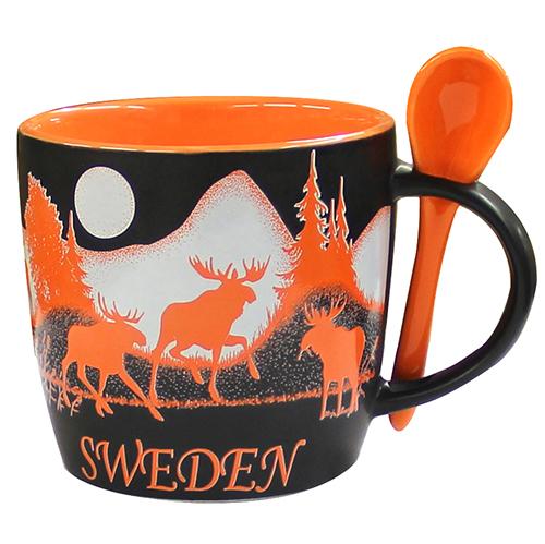 Mug w spoon Moose Sweden, black/orange